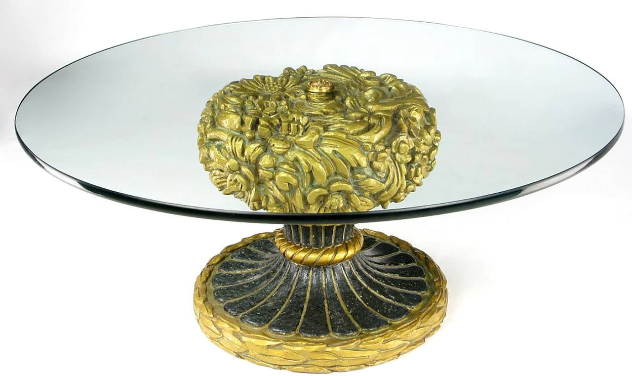 Unusual parcel gilt resin coffee table with 5/8