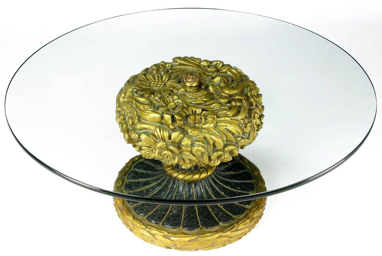 Spanish Francisco Hurtado Foliate Parcel-Gilt and Glass Coffee Table For Sale