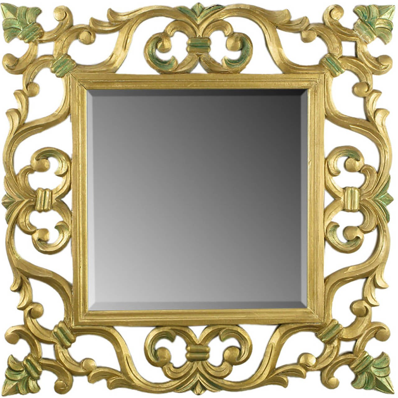 Carved Giltwood Mirror With Fleur-de-Lis Detail For Sale