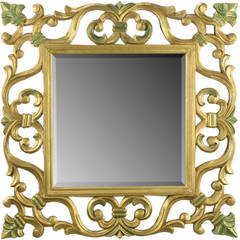 Carved Giltwood Mirror With Fleur-de-Lis Detail
