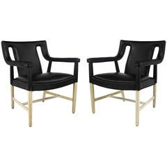 Pair of Rare John Widdicomb Black Leather & Bent Bleached Mahogany Lounge Chairs