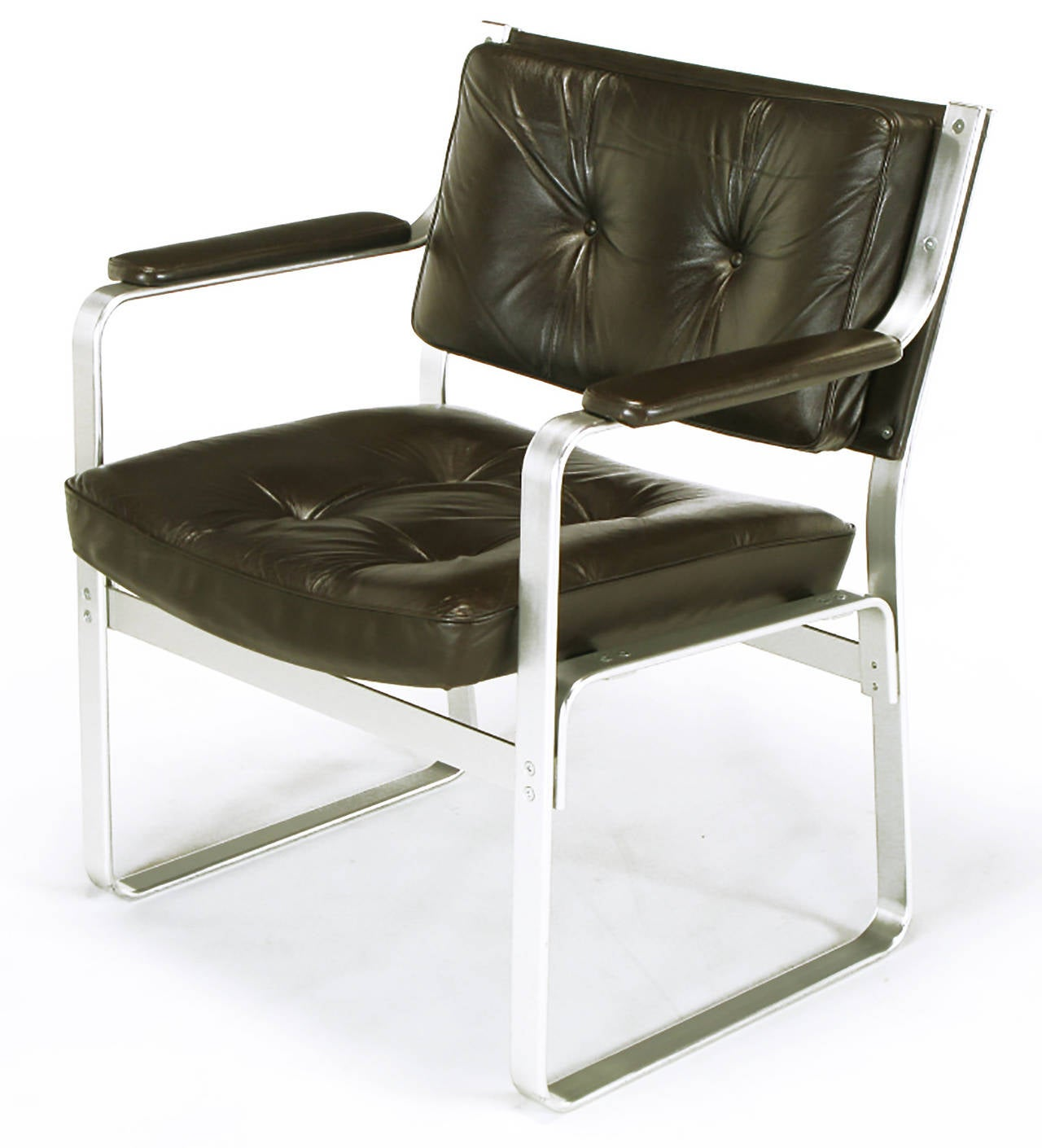 Polished Pair of Karl-Erik Ekselius Leather and Aluminium Mondo Armchairs For Sale