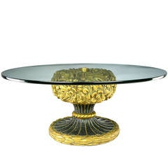 Francisco Hurtado Foliate Parcel-Gilt and Glass Coffee Table
