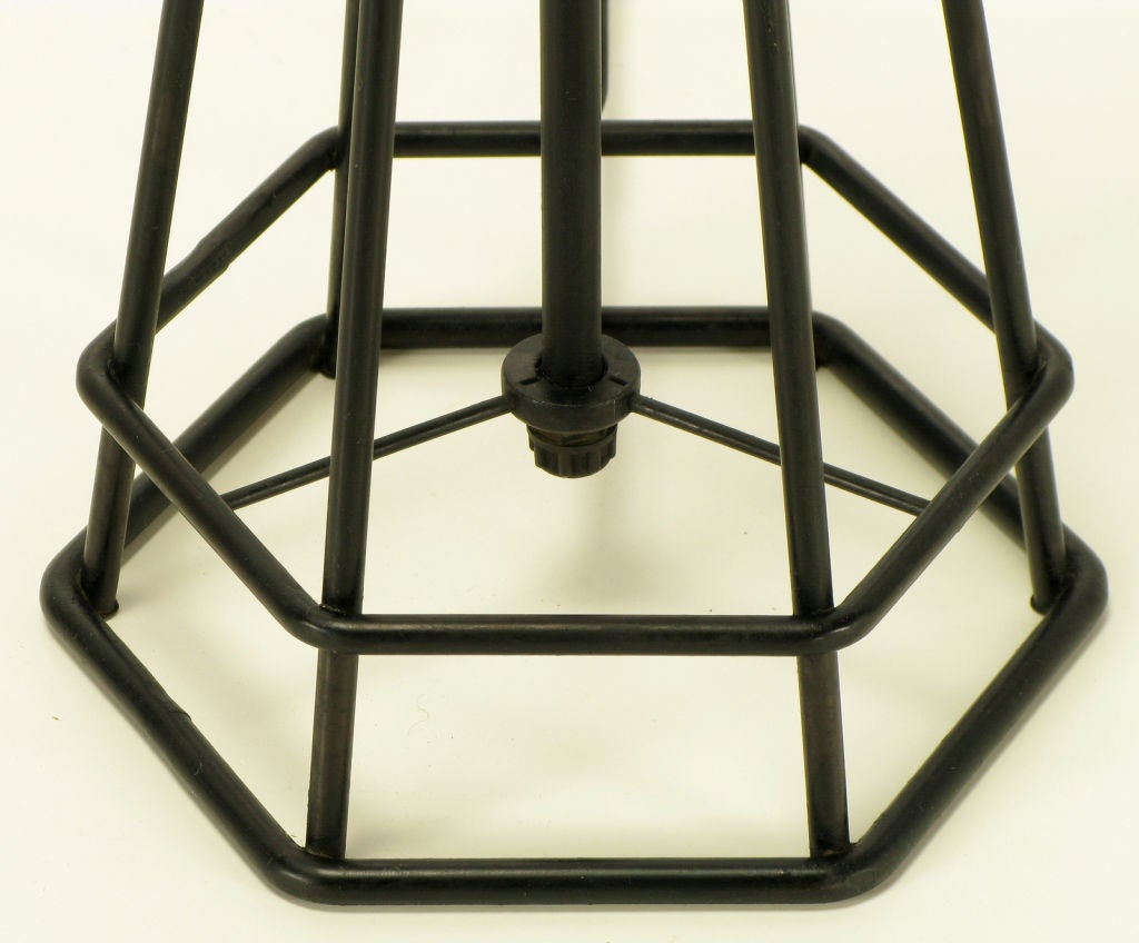 Hexagonal Pyramid Open Ironwork Table Lamp For Sale At 1stdibs