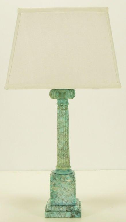 Ionic Column Aqua Veined Marble Table Lamp. 2