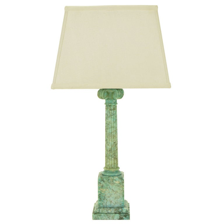 Ionic Column Aqua Veined Marble Table Lamp.