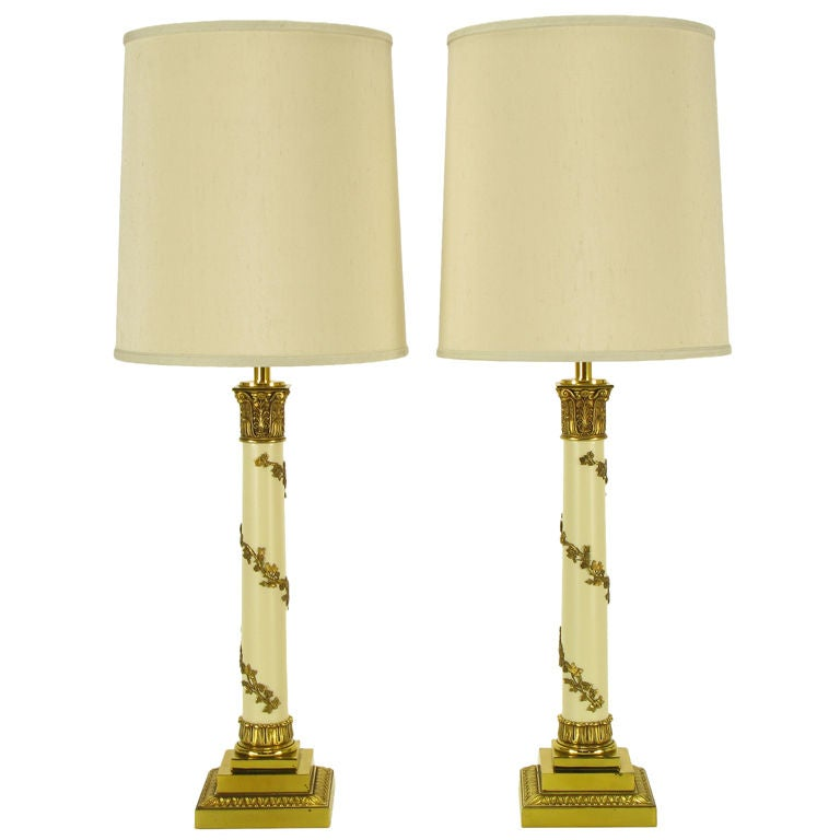 Pair Stiffel Neoclassical Brass & Ivory lacquered Table Lamps.