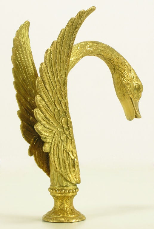 Vintage Sherle Wagner Gold Plated Bronze Swan Bath Tub Faucet. 1