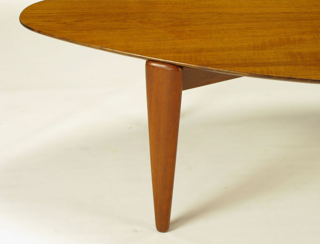 Elliptical Teak Wood Coffee Table In The Manner Of Finn Juhl At 1stdibs