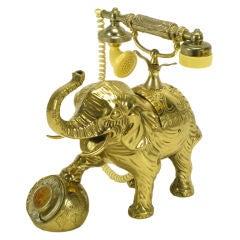 Vintage Cast Brass Elephant Form Telephone.