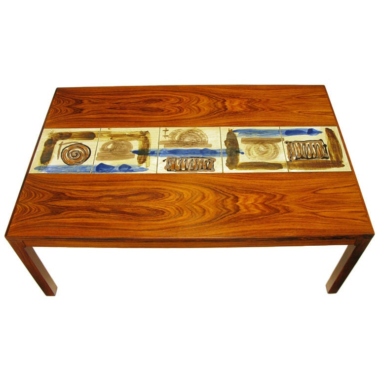 Danish Rosewood Coffee Table With Hand Painted Tile Inlay 1