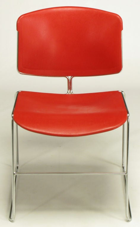 Set of twelve vintage stackable chrome steel rod sled base steelcase chairs. Unusual form, with single stem holding up the seat back. Molded resin seats and backs. Versatile dining or conference chair that can go from the office to the home.