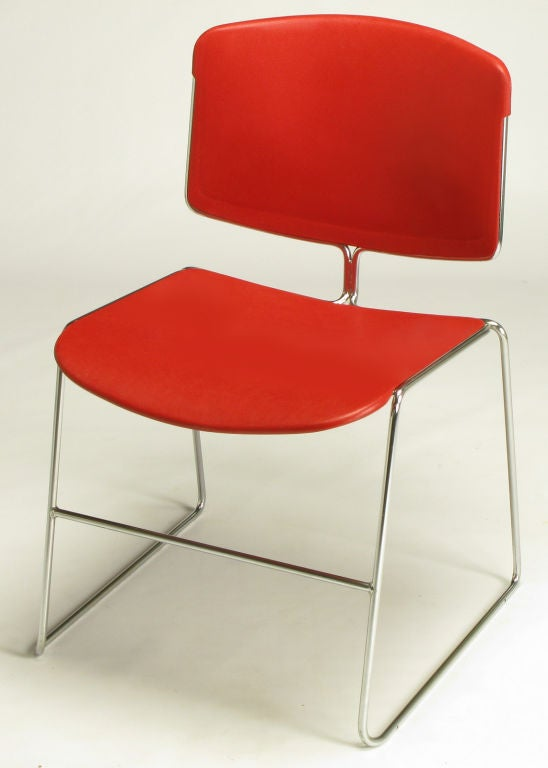 Mid-Century Modern Twelve Steelcase Chrome and Red Sled-Base Chairs For Sale