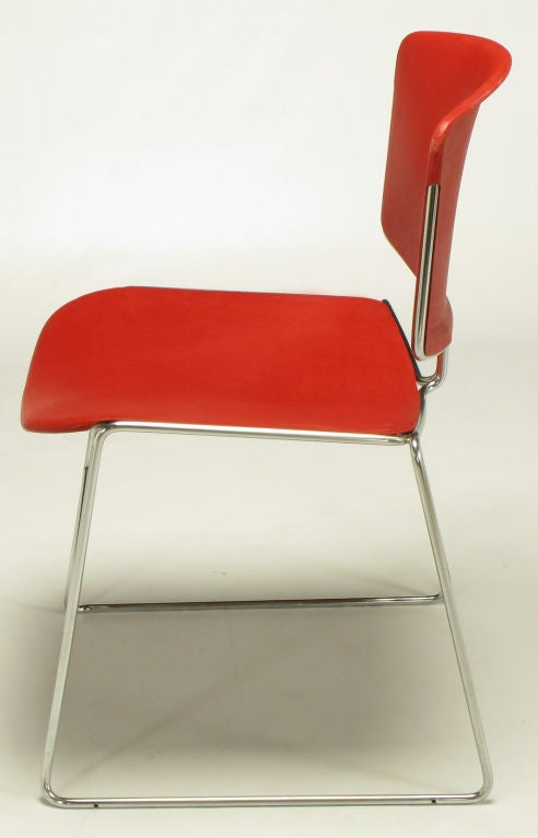 American Twelve Steelcase Chrome and Red Sled-Base Chairs For Sale