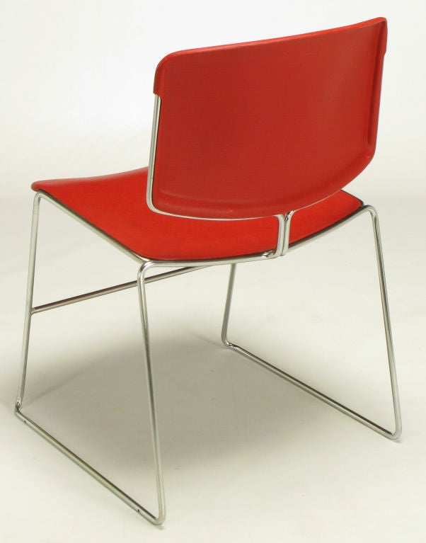 Twelve Steelcase Chrome and Red Sled-Base Chairs In Good Condition For Sale In Chicago, IL