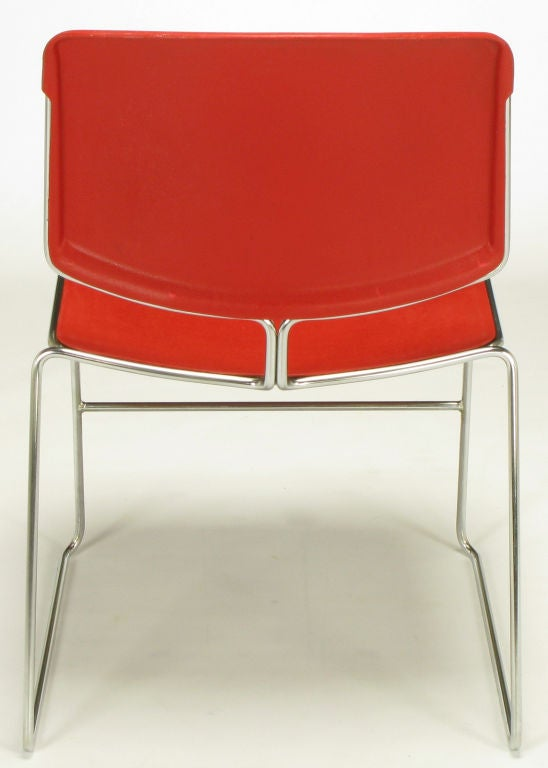 20th Century Twelve Steelcase Chrome and Red Sled-Base Chairs For Sale