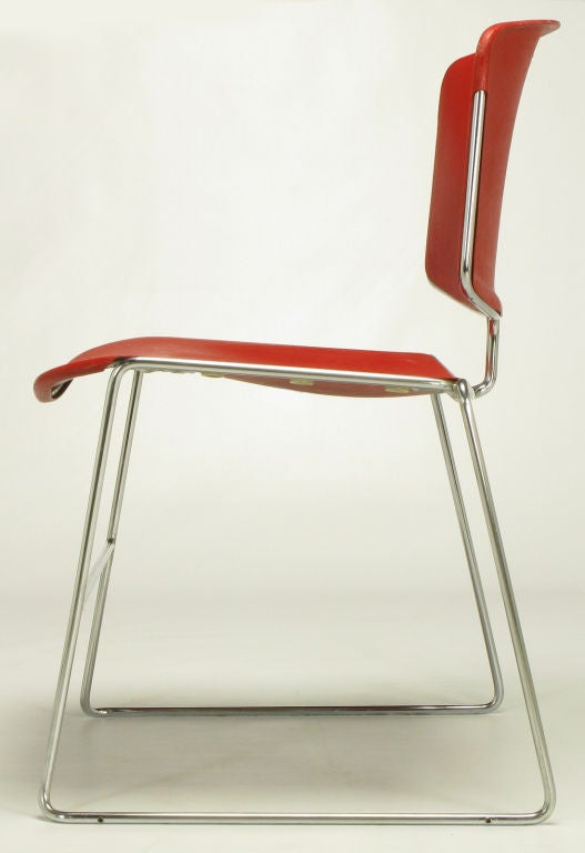 Twelve Steelcase Chrome and Red Sled-Base Chairs For Sale 1