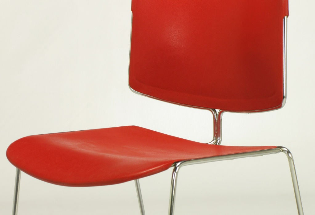 Twelve Steelcase Chrome and Red Sled-Base Chairs For Sale 2
