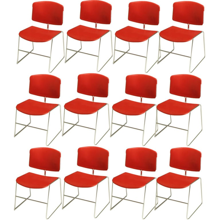 Twelve Steelcase Chrome and Red Sled-Base Chairs For Sale