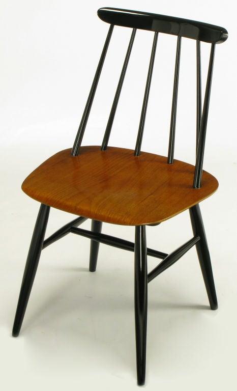 Six Ilmari Tapiovaara Teak Black Lacquer Dining Chairs