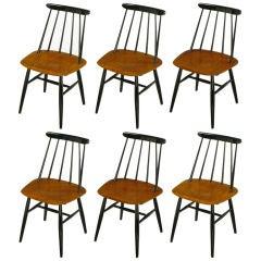 Six Ilmari Tapiovaara Teak & Black Lacquer Dining Chairs