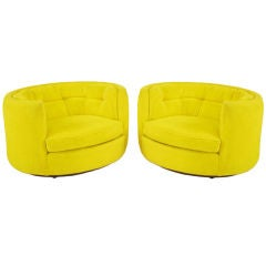 Pair Oval Button-Tufted Canary Yellow  Chenille Lounge Chairs
