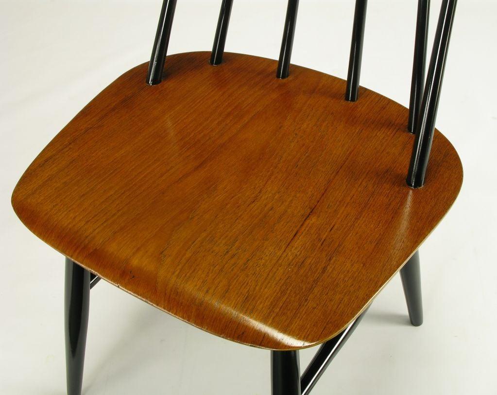Six Ilmari Tapiovaara Teak And Black Lacquer Dining Chairs