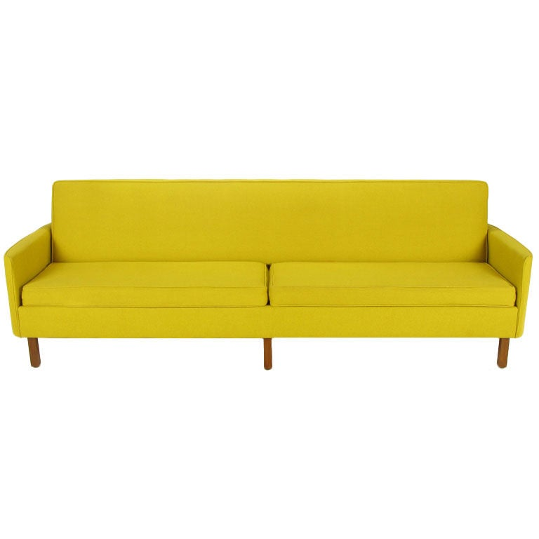 yellow wool curved arm sofa by moselle meals at 1stdibs