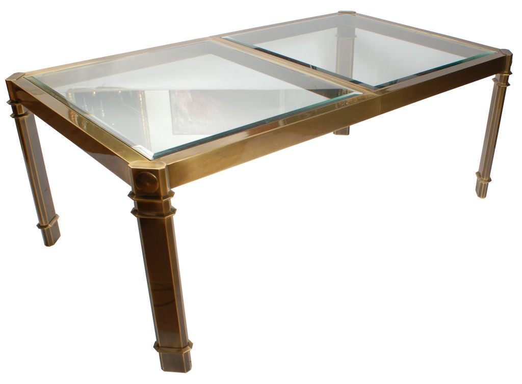 Mastercraft postmodern bronze and glass dining table at