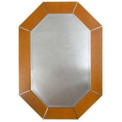 Karl Springer Octagonal Chrome & Marblelized Lacquer Mirror