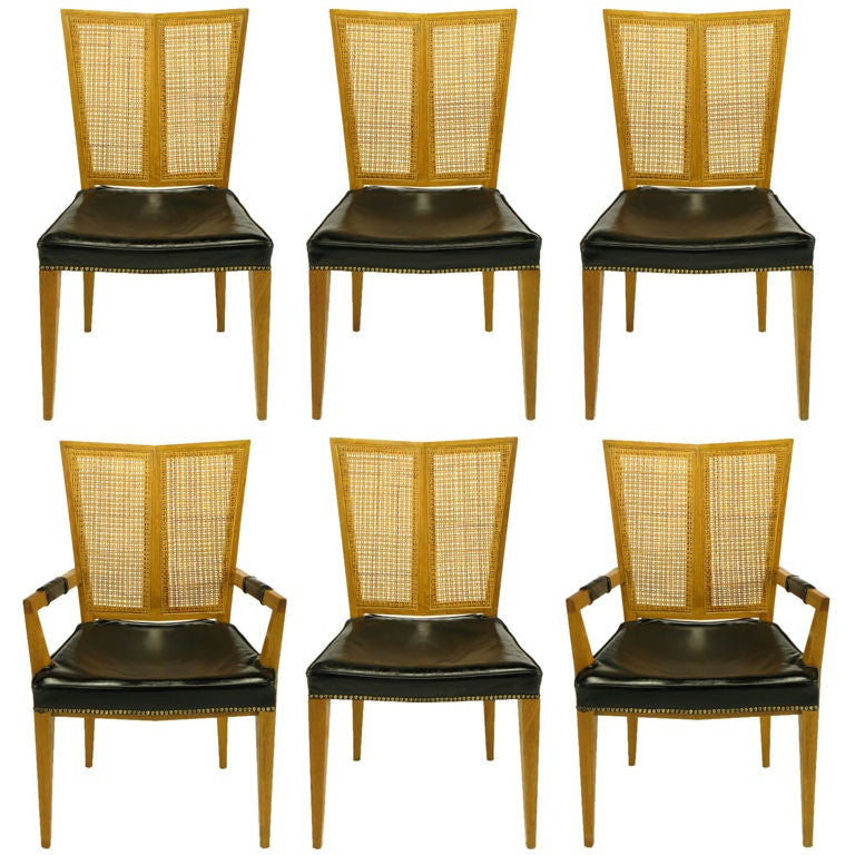 Six Michael Taylor For Baker Walnut And Leather Dining