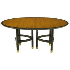 Michael Taylor For Baker Walnut & Ebonized Mahogany Dining Table