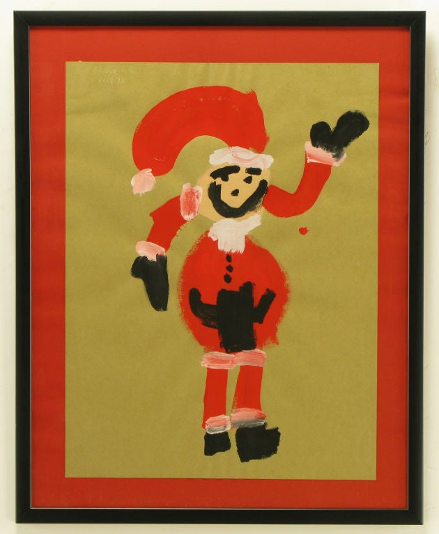 Just in time for the season, an outsider art child like Santa Claus painting done in acrylic on brown paper. Framed in a red lacquered wood and glass. Origin, Montreal Canada signed, Olivia 4d Noel 95.<br /> <br /> Framed 29.5