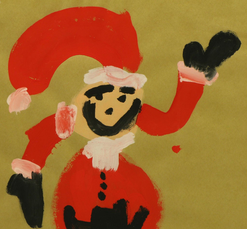 Canadian Outsider Art Santa Claus, Acrylic On Paper. For Sale