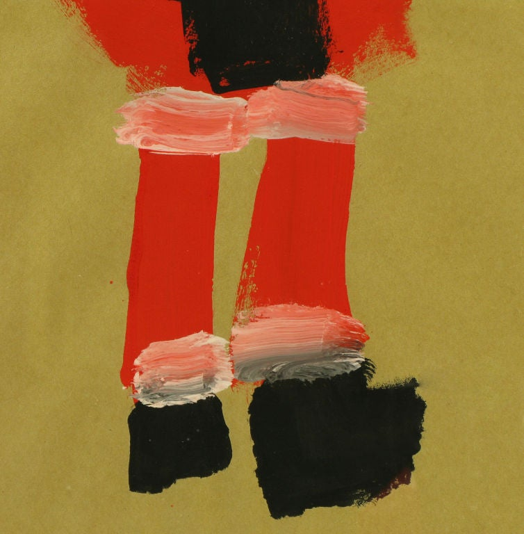 20th Century Outsider Art Santa Claus, Acrylic On Paper. For Sale