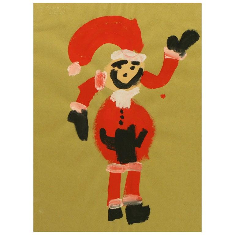 Outsider Art Santa Claus, Acrylic On Paper.