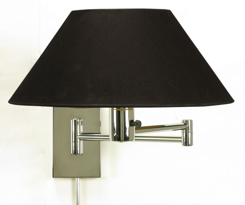 pair nessen chrome swing arm wall lamps at 1stdibs. Black Bedroom Furniture Sets. Home Design Ideas