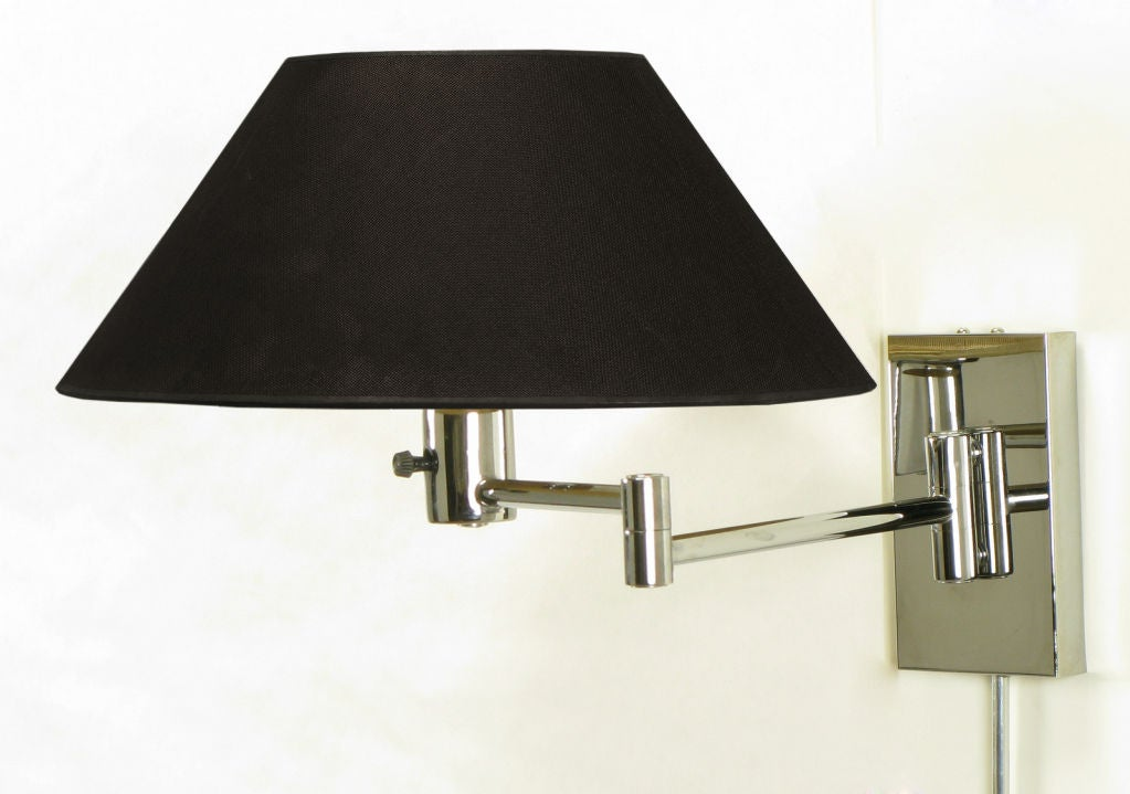 Wall Lamps Chrome : Pair Nessen Chrome Swing Arm Wall Lamps at 1stdibs