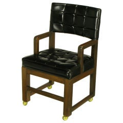 Black Button Tufted Mahogany Frame Desk Chair