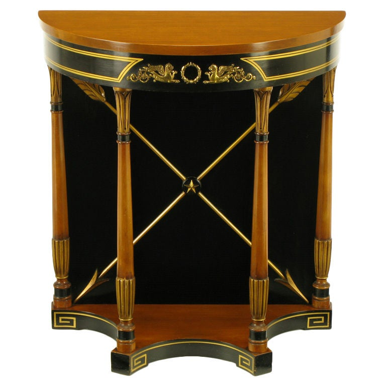 Parcel gilt and black empire demilune console table at 1stdibs White demilune console table