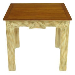 Game Table With Carved & Limed Organic Form Wood Base