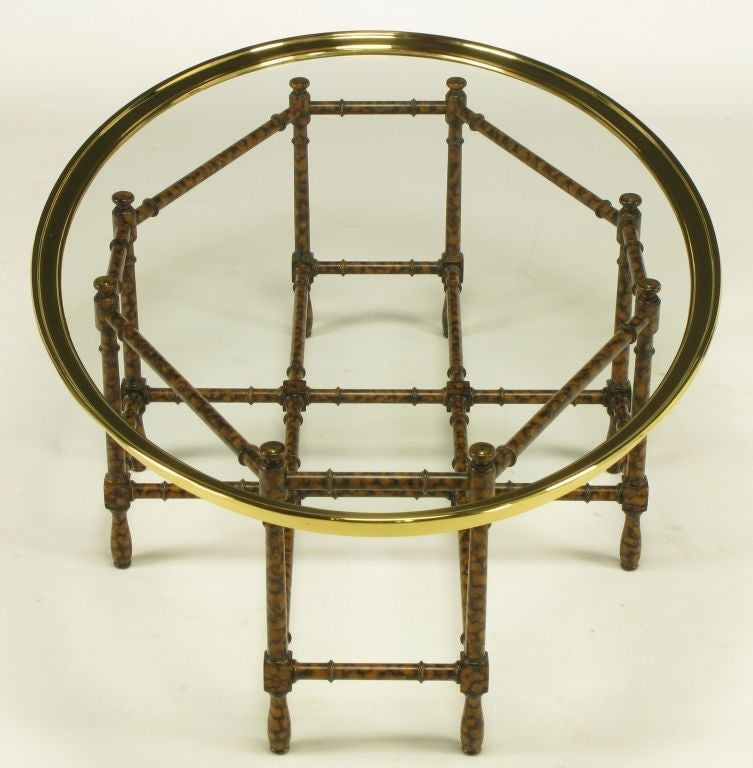 Oval Coffee Table Tray: Tortoise Shell Lacquered And Oval Glass Tray Coffee Table