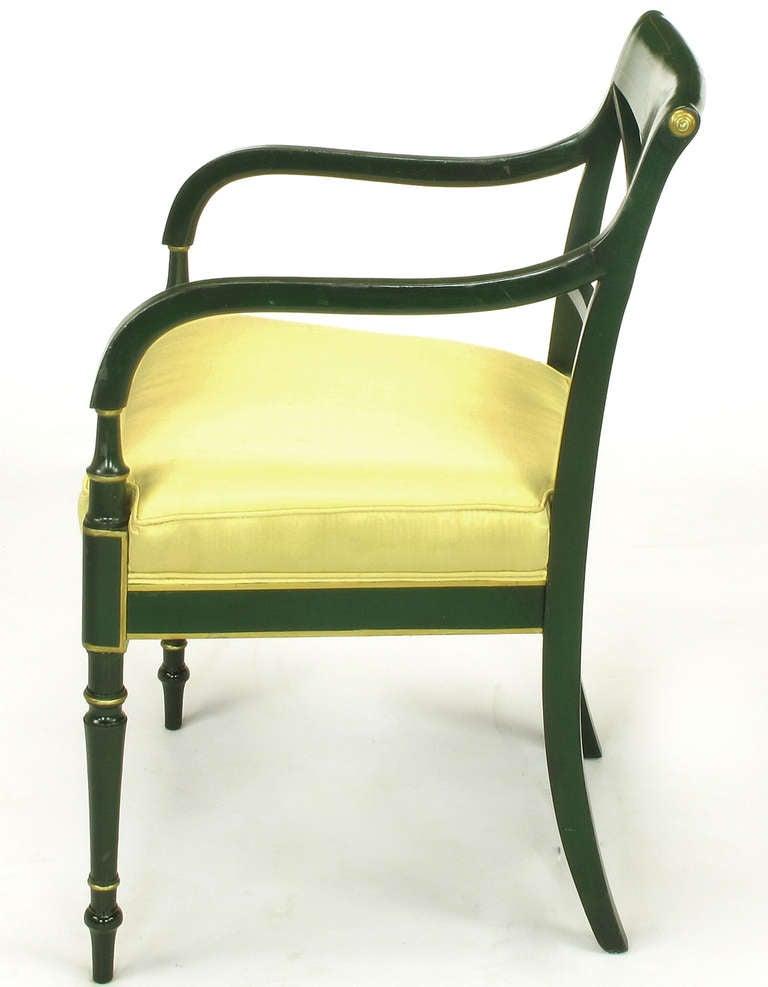 Emerald Green And Parcel Gilt Regency Cross Back Armchair