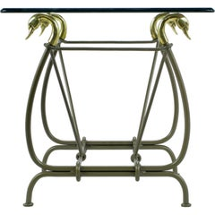 Iron End Table Surmounted By Cast Brass Swans & Glass Top