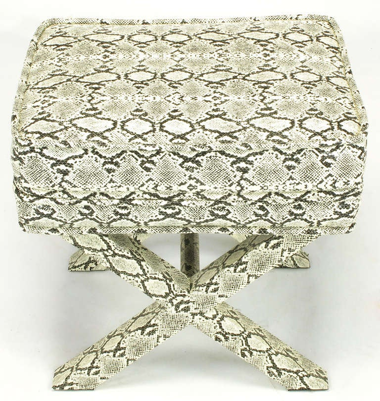 American Faux Python X-Base Stool After Billy Baldwin. For Sale