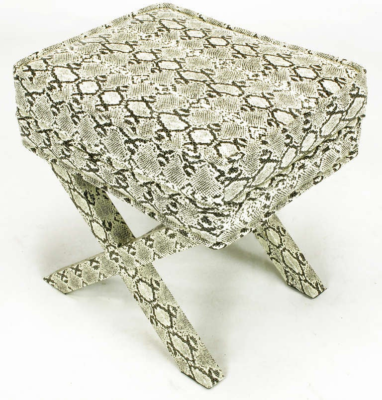 Faux Python X-Base Stool After Billy Baldwin. In Excellent Condition For Sale In Chicago, IL