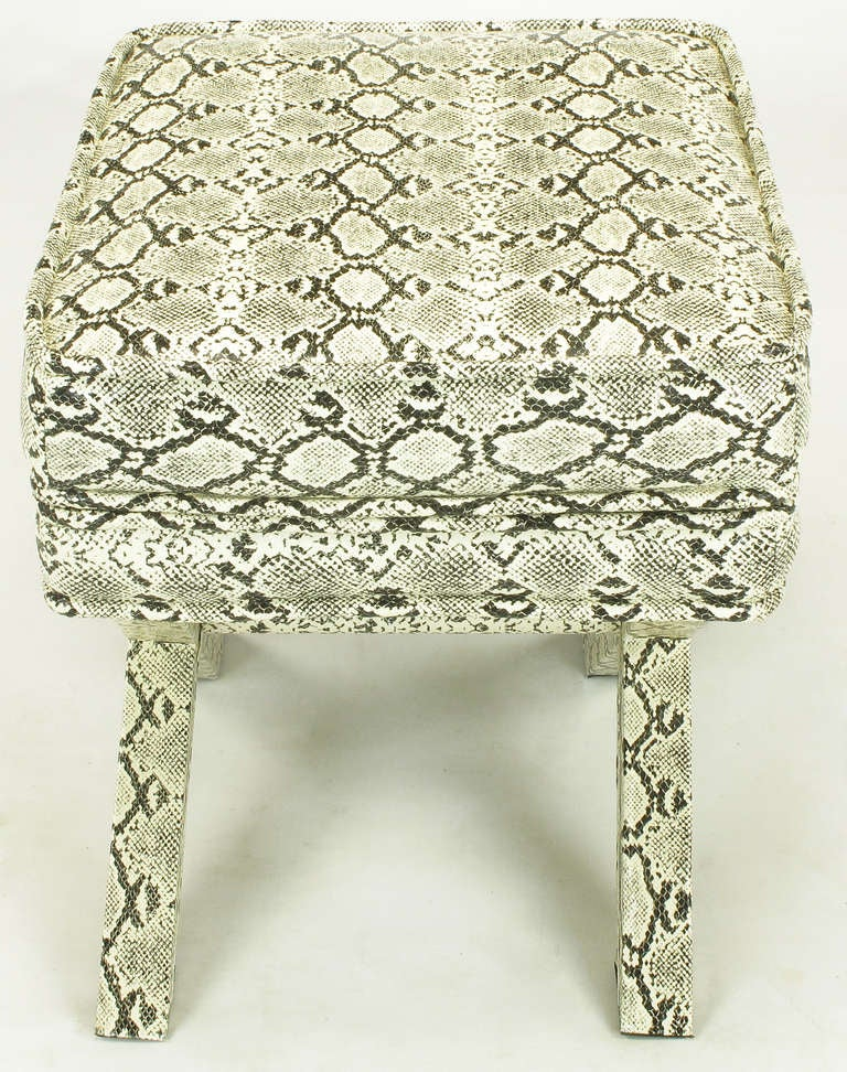 Late 20th Century Faux Python X-Base Stool After Billy Baldwin. For Sale