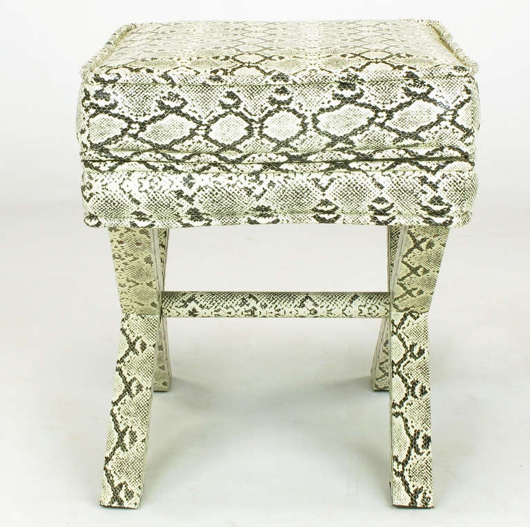 Faux Python X-Base Stool After Billy Baldwin. For Sale 2