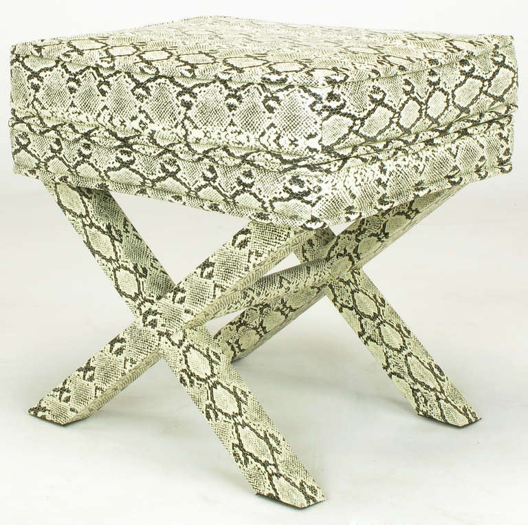 Faux Python X-Base Stool After Billy Baldwin. For Sale 1