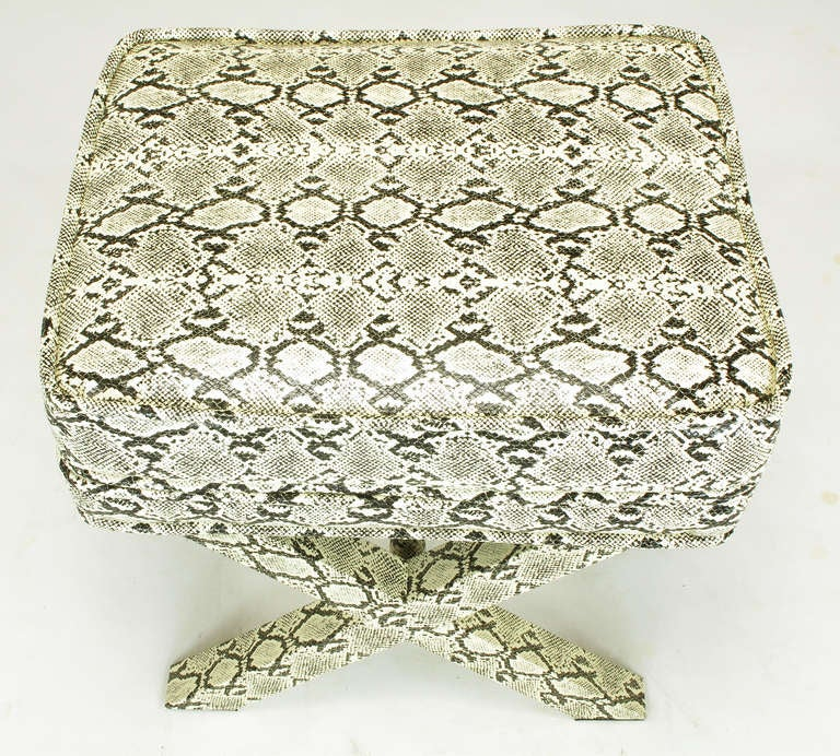 Faux Python X-Base Stool After Billy Baldwin. For Sale 3